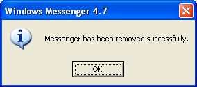 Windows alert box: MSN messenger uninstalled successfully